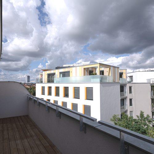 Výhled z balkonu na Prahu Veleslavín