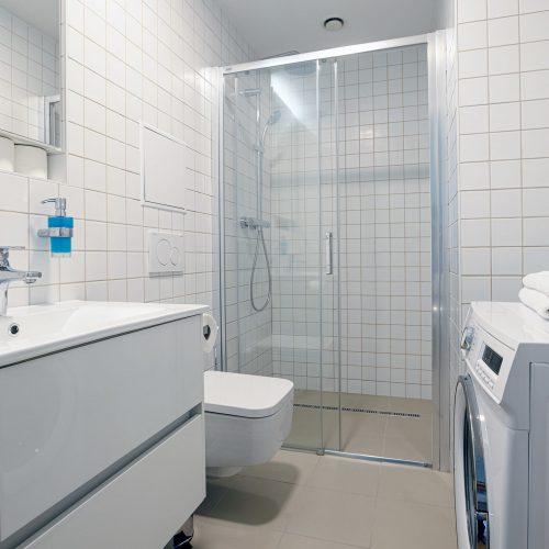 Pračka a sprchový kout v koupelně